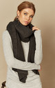 Textured Knitted Scarf in Dark Grey by Pieces