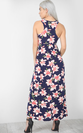Maxi Dress With Pockets in Navy Floral Print by Oops Fashion