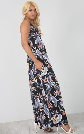 Maxi Dress With Pockets in Blue Floral Leaf Print by Oops Fashion