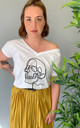 Loose Fit V Neck T-Shirt in White with Skull Illustration by Save The People