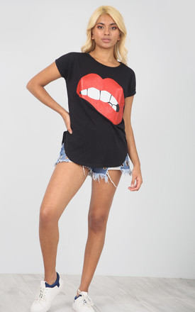 Black T-Shirt with Red Lips Graphic by Oops Fashion