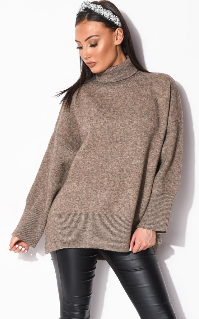 Brown Oversized Chunky Knit Jumper with Turtleneck by LILY LULU FASHION