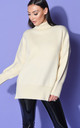 Cream Oversized Chunky Knit Jumper with Turtleneck by LILY LULU FASHION