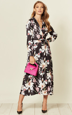 Satin Long Sleeve Wrap Dress In Black/Cream Floral Print by D.Anna Product photo