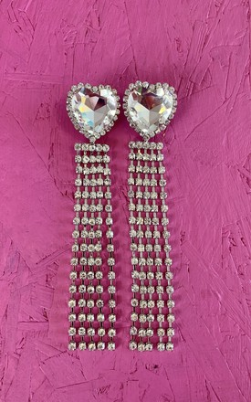 Diamante Heart Tassel Earrings by Bottle Blonde Studio Product photo
