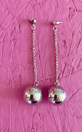 Silver Ball Earrings by Bottle Blonde Studio Product photo