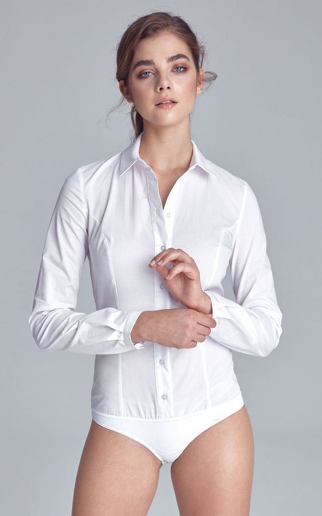 White Long Sleeve Bodysuit with Collar by so.Nife