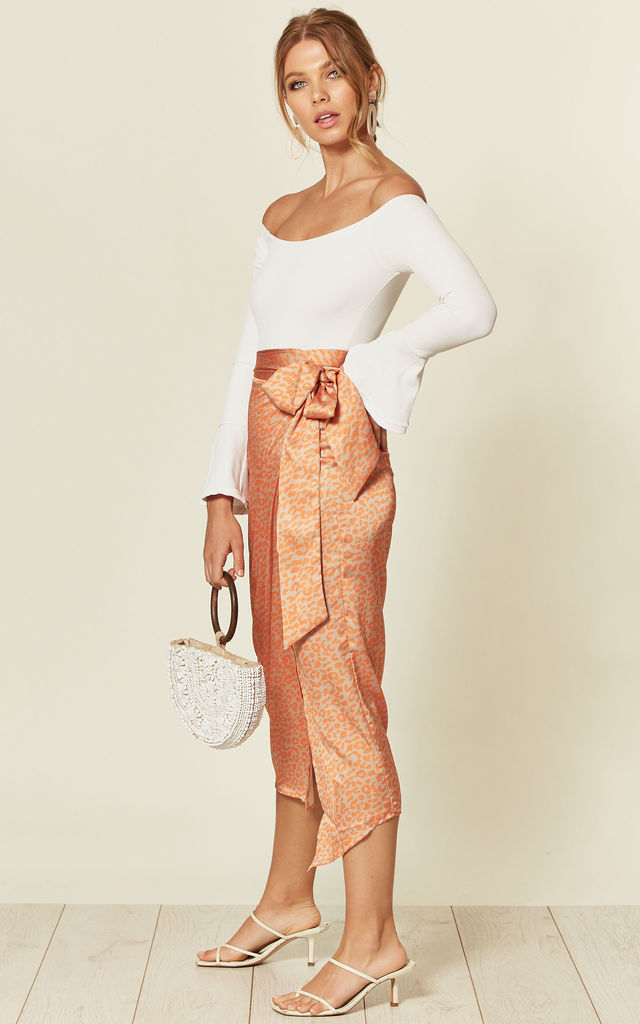Satin Midi Wrap Skirt in Orange/Gold Leopard Print by D.Anna