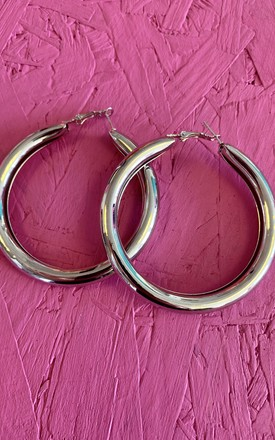Silver Tube Hoop Earrings by Bottle Blonde Studio Product photo