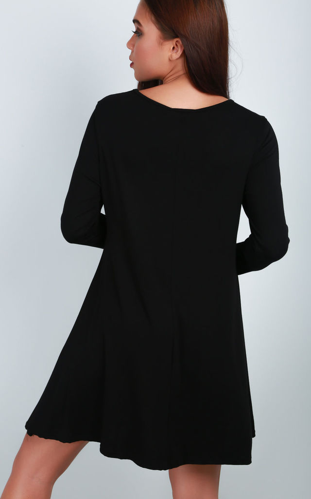 Black Long Sleeve Skater Dress with Skeleton Print by Oops Fashion