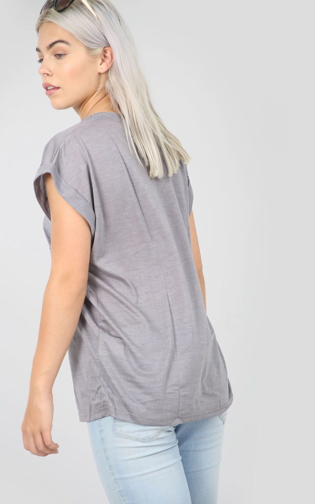 Grey T-Shirt with Limited Edition Slogan by Oops Fashion