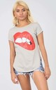 Grey T-Shirt with Red Lips Graphic by Oops Fashion