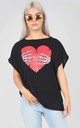 Oversized Black T-shirt with Halloween Heart Print by Oops Fashion