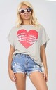 Oversized Grey T-shirt with Halloween Heart Print by Oops Fashion