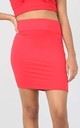 High Waisted Jersey Mini Skirt in Red by Oops Fashion