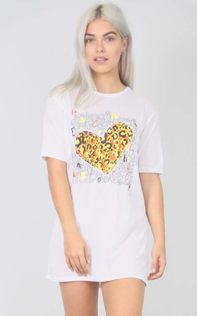Mini Tshirt Dress with Leopard Heart in White by Oops Fashion