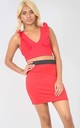 High Waisted Tube Mini Skirt in Red by Oops Fashion