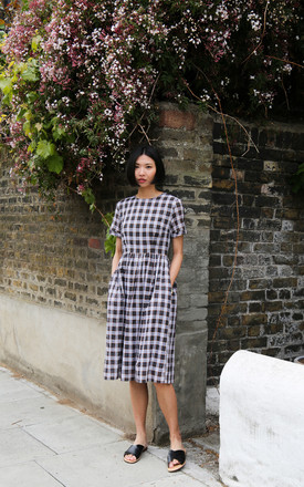 Sophia Midi Dress In Navy Plaid Check by Darla Product photo