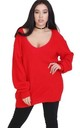 Red Chunky Knit Oversized Jumper with V Neck by Oops Fashion