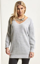 Light Grey Chunky Knit Oversized Jumper with V Neck by Oops Fashion