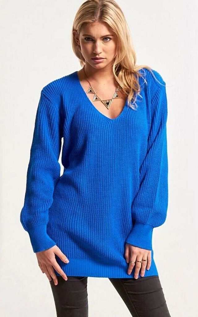 Blue Chunky Knit Oversized Jumper with V Neck by Oops Fashion