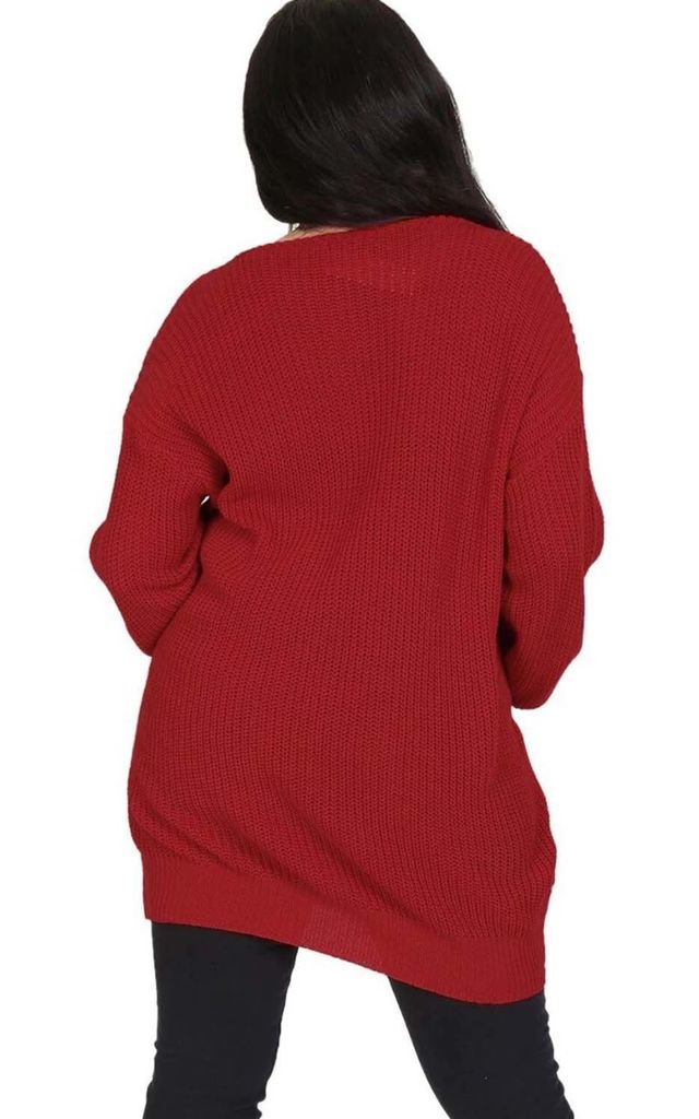 Wine Red Chunky Knit Oversized Jumper with V Neck by Oops Fashion