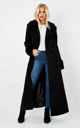 Alexa Black Military Faux Fur Trim Maxi Coat by De La Creme Fashions Product photo