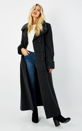 Alexa Grey Military Faux Fur Trim Maxi Coat by De La Creme Fashions Product photo