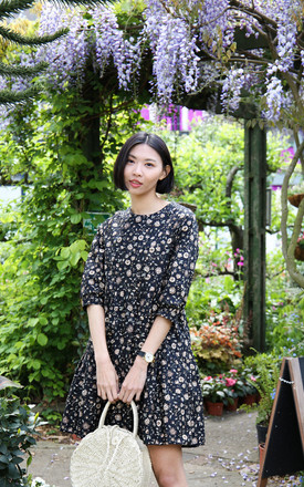 Becca Tiered Smock Dress In Black Floral by Darla Product photo