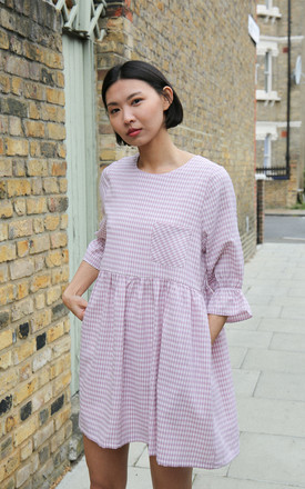 Luna 3/4 Sleeve Smock Dress In Pink Gingham by Darla Product photo