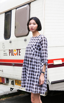 Beatrice Oversized Smock Dress In Navy Plaid Check by Darla Product photo