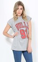 Grey T-Shirt with Bulls Sports Print by Oops Fashion