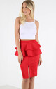 Kira High Waisted Peplum Midi Skirt In Red by Oops Fashion