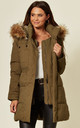 Khaki Parka With Beige Fur Jacket by EDGE STREET