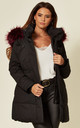 Black Parka Jacket With Pink Fur by EDGE STREET