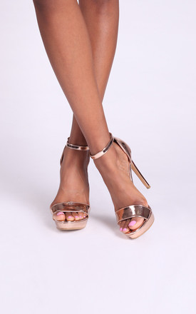 Sophia Rose Gold Barely There Platforms with Stiletto Heel by Linzi