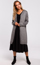Long Cardigan with Cable Knit Sleeves in Grey by MOE