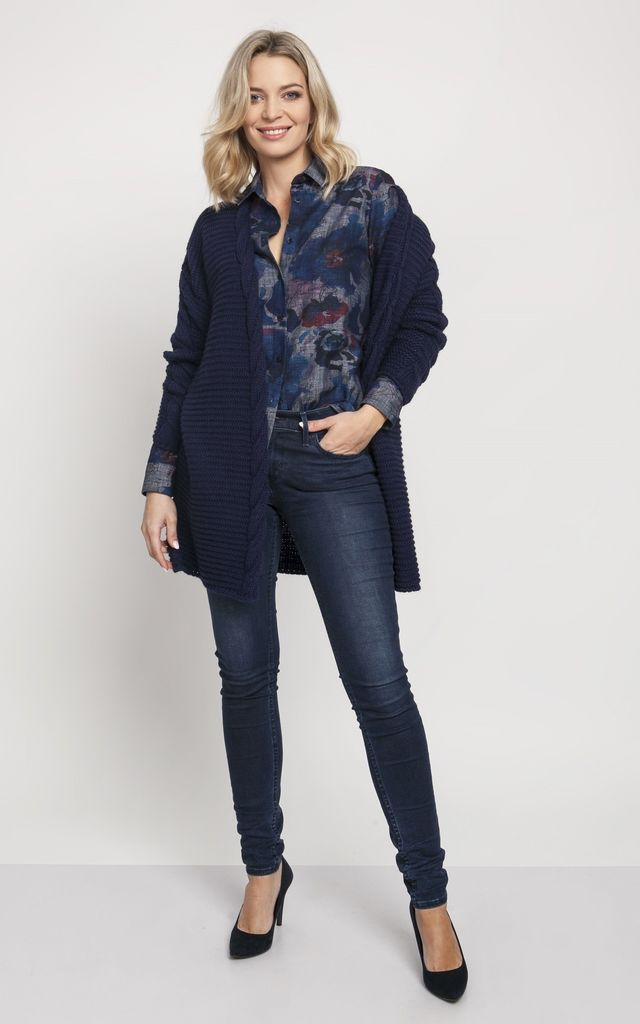 Fashionable Cardigan with Elegant Finish in Navy Blue by MKM Knitwear Design