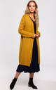 Long Cardigan with Cable Knit Sleeves in Mustard by MOE