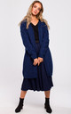 Long Cardigan with Cable Knit Sleeves in Navy Blue by MOE