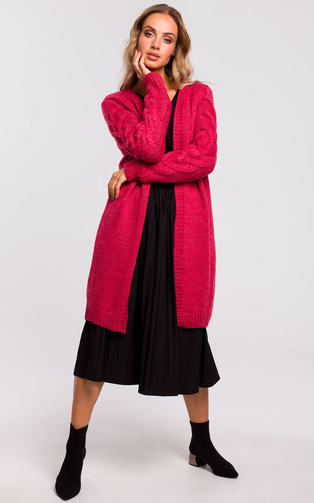 Long Cardigan with Cable Knit Sleeves in Raspberry Pink by MOE