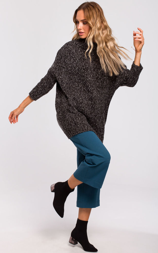 Oversized Turtleneck Jumper in Dark Grey by MOE