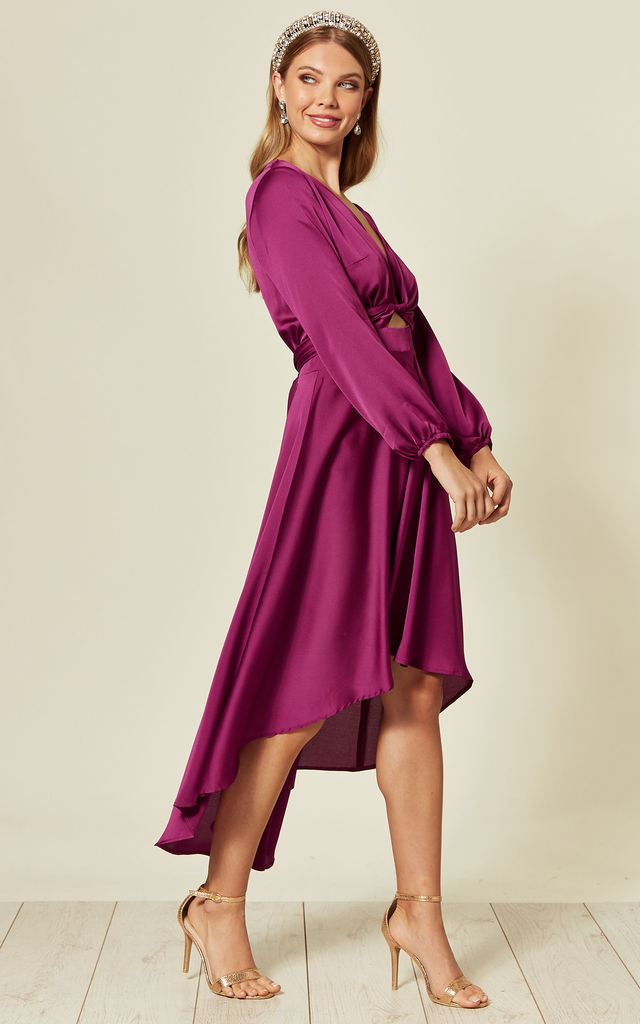 Magenta Dip Hem Wrap Front Dress with Long Sleeves by URBAN TOUCH