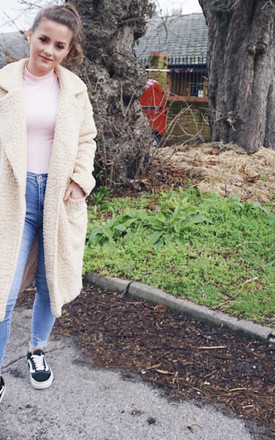 Oversized Sherpa Coat in Cream by Styled Clothing