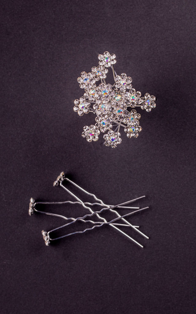 Nicce Silver Crystal Hair Pin Set by Vozzi London