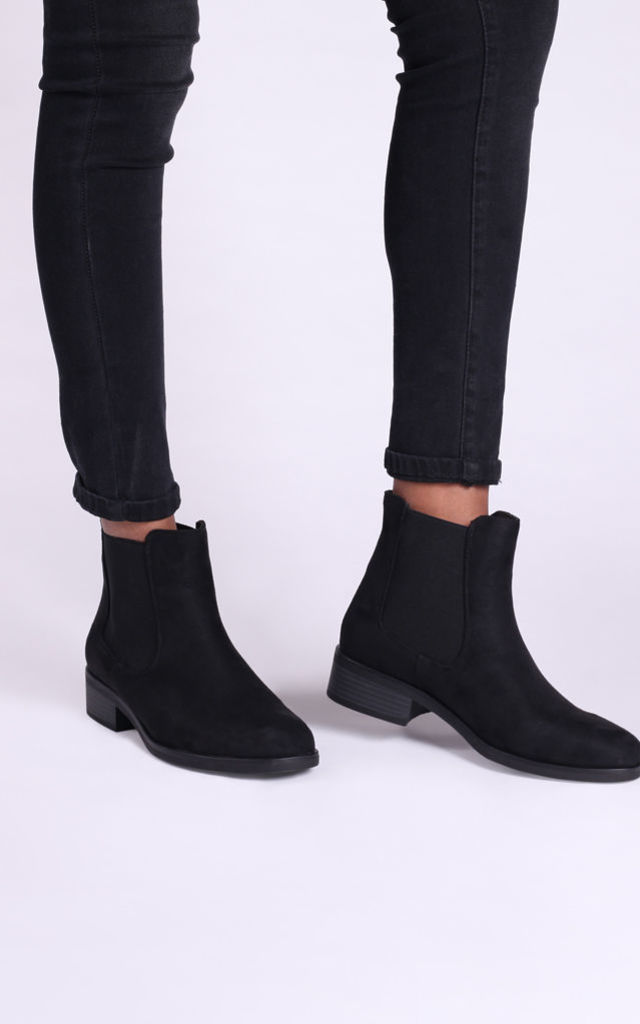 Lani Black Faux Suede Chelsea Boots by Linzi