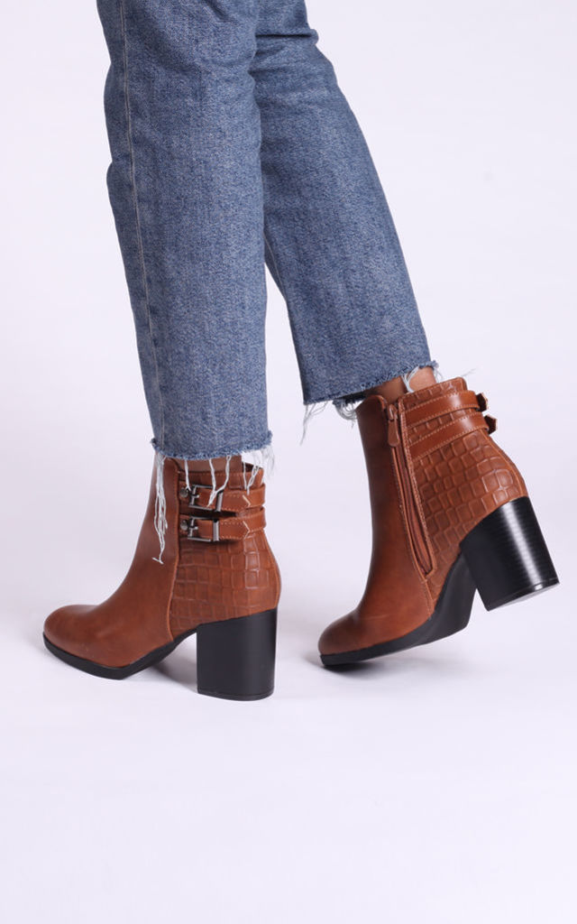 Jeni Tan Nappa & Croc Ankle Boots with Stacked Block Heel by Linzi