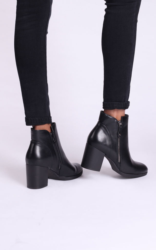 Hallie Black Nappa Ankle Boots with Stacked Block Heel by Linzi