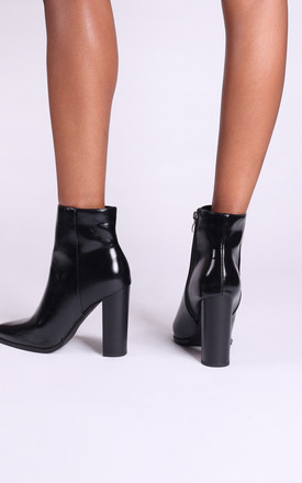 Lucy Black Nappa Ankle Boots With Stacked Block Heel by Linzi