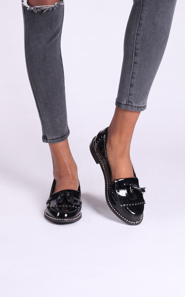 Kaley Black Patent Loafers With Gold Studs by Linzi